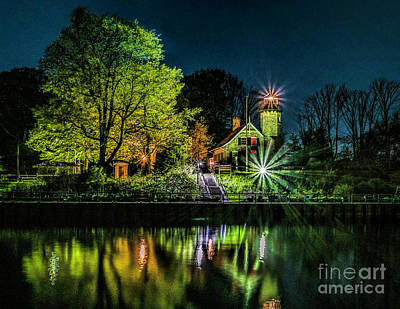 Photograph - Nite At White River Light by Nick Zelinsky