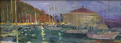 Painting - Nite Avalon Harbor - Catalina Island by Betty Jean Billups