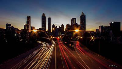 Photograph - Nite Lights Atlanta Downtown Sunset Art by Reid Callaway