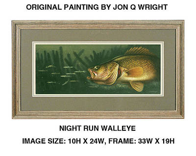Fishing Painting - Nite Run Walleye by Jon Q Wright