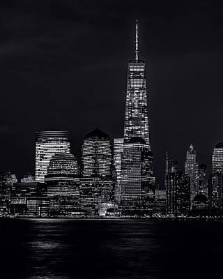 Photograph - Nitetime Skyline-bw by Nick Zelinsky