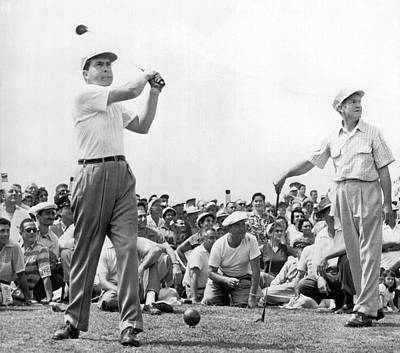 Former Senators Photograph - Nixon Tees Off by Underwood Archives