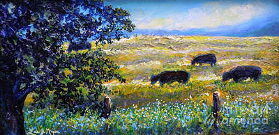 Painting - Nixon's Three Plus One Out To Pasture by Lee Nixon