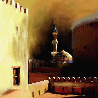 Painting - Nizwa Fort's Mosque 678 1 by Mawra Tahreem