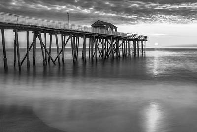 Photograph - Nj Shore Pier Sunrise Bw by Susan Candelario