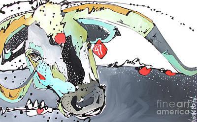 Steer Painting - No. 47 Longhorn Steer by Nicole Gaitan