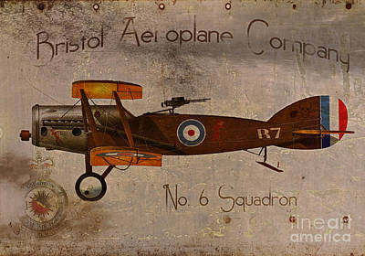 Fighter Plane Painting - No. 6 Squadron Bristol Aeroplane Company by Cinema Photography