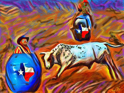 Rodeo Clown Painting - No Bull Just Clowning Around by D Shannon