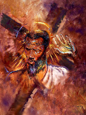 Crucifixtion Painting - No Excuses by Tommy  Winn