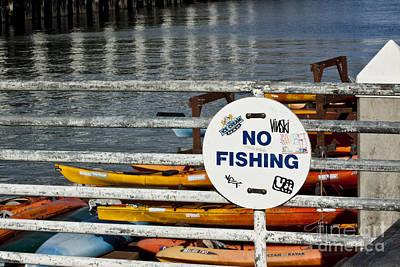 No Fishing   A World Of Words Series Art Print by Mark Hendrickson