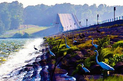 Digital Art - No Fishing From Bridge by Bartz Johnson