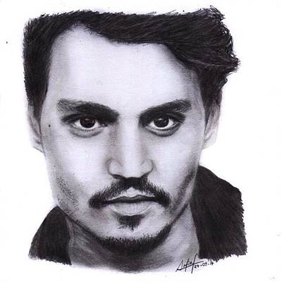 Black Art Drawing - Johnny Depp Drawing By Sofia Furniel by Sofia Furniel