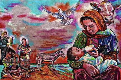 Pastel - No Inn For The Refugee Madonnas by Michael Bish