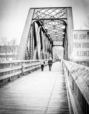 Bridge Photograph - No Jumping - Collinsville, Ct by Brian Caldwell