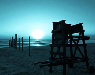 Photograph - No Lifeguard On Duty- Blue by Elyza Rodriguez