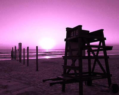 Photograph - No Lifeguard On Duty- Purple by Elyza Rodriguez