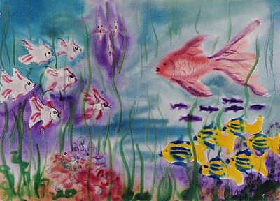 Zanobia Painting - No Maintanence Aquarium by Zanobia Shalks