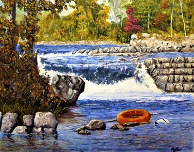 River Rafting Painting - No Mas Cervesa by Michael Dillon