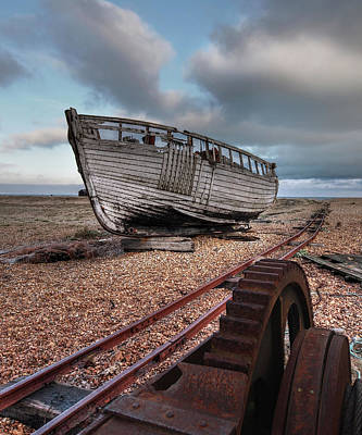 No More Fishing - Abandoned Boat And Rusty Winch Art Print by Gill Billington