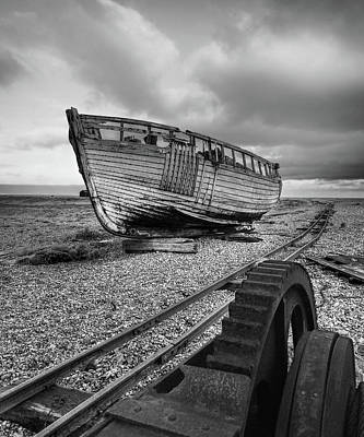 Photograph - No More Fishing - Abandoned Boat And Rusty Winch B W by Gill Billington