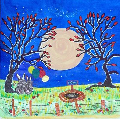 Night Sky With Moon Painting - No Place Like Easter Home by Connie Valasco