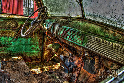 Photograph - No Radio 1947 Chevy Flatbed Truck Interior Art by Reid Callaway