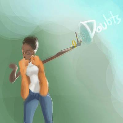 Blackart Digital Art - No Doubt by Saeed Briscoe