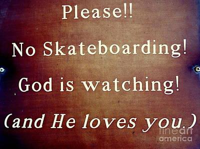 Photograph - No Skateboarding by Ed Weidman