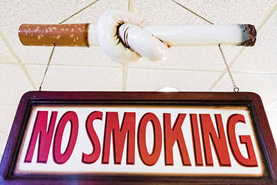 Coca-cola Signs Photograph - No Smoking Sign by Jon Berghoff
