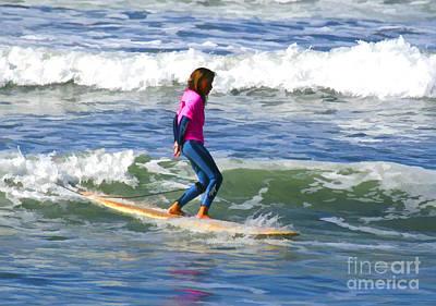 Digital Art - No Stress Surfing by Waterdancer