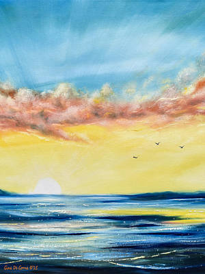 Painting - No Stress - Vertical Sunset Painting by Gina De Gorna