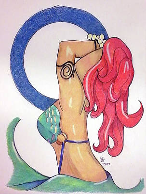 Drawing - No This Is Not Ariel by Loretta Nash