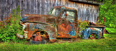 Photograph - No Tires And Retired 1954 Gmc Stepside Pickup Truck by Reid Callaway
