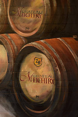 Painting - No Wine Before It's Time - Barrels-chateau Meichtry by Jan Dappen