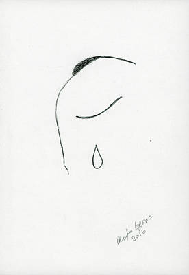 Tears Drawing - No Words by Alexis Grone