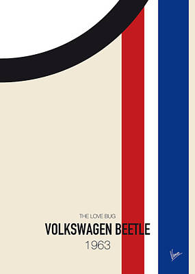 1963 Movies Digital Art - No014 My Herbie Minimal Movie Car Poster by Chungkong Art