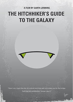 Thoughts Digital Art - No035 My Hitchhiker Guide Minimal Movie Poster by Chungkong Art