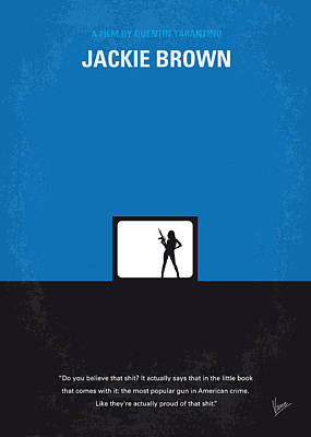 Tarantino Digital Art - No044 My Jackie Brown Minimal Movie Poster by Chungkong Art