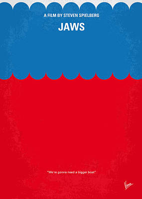 Island Digital Art - No046 My Jaws Minimal Movie Poster by Chungkong Art