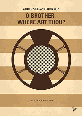 Brothers Digital Art - No055 My O Brother Where Art Thou Minimal Movie Poster by Chungkong Art