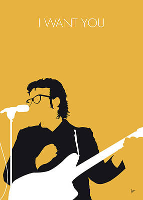 Lesser Digital Art - No067 My Elvis Costello Minimal Music Poster by Chungkong Art