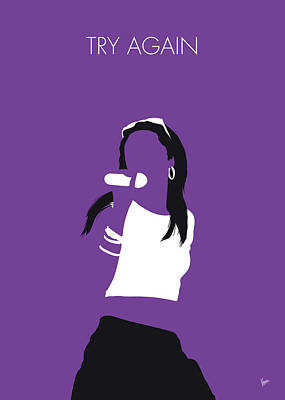 Must Art Digital Art - No071 My Aaliyah Minimal Music Poster by Chungkong Art