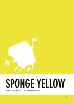 Jessica Digital Art - No10 My Minimal Color Code Poster Spongebob by Chungkong Art