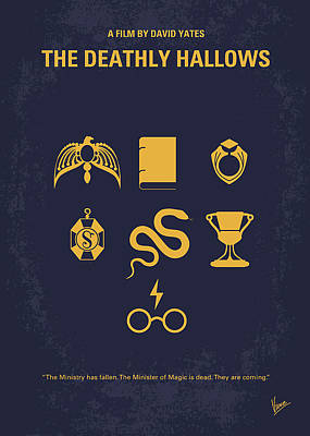 No101-7 My Hp - Deathly Hallows Minimal Movie Poster Art Print by Chungkong Art