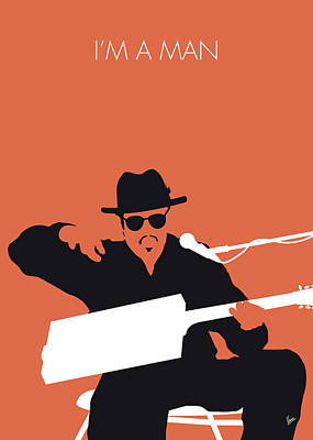 50s Digital Art - No103 My Bo Diddley Minimal Music Poster by Chungkong Art