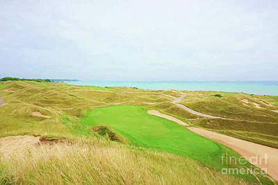 11th Green Photograph - No.11 Par 3 Irish Course - Digital Painting by Scott Pellegrin