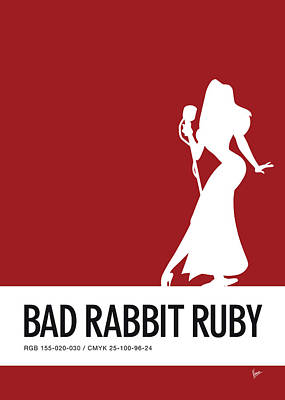 Rabbit Digital Art - No14 My Minimal Color Code Poster Jessica Rabbit by Chungkong Art