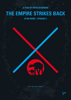 Simple Digital Art - No155 My Star Wars Episode V The Empire Strikes Back Minimal Movie Poster by Chungkong Art