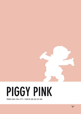 Duck Digital Art - No17 My Minimal Color Code Poster Porky Pig by Chungkong Art