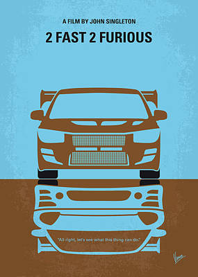 Digital Art - No207-2 My 2 Fast 2 Furious Minimal Movie Poster by Chungkong Art
